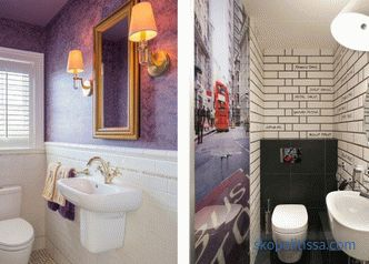 The decoration of a small toilet, the rules for choosing materials and colors, popular details and styles