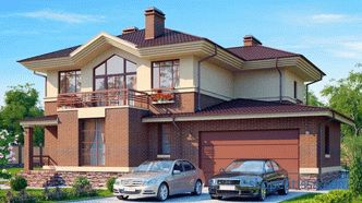 Projects of houses and cottages with a garage for 2 cars