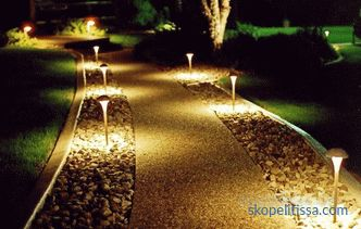 Lighting of a plot of a country house, outdoor street decorative lighting, options, photos