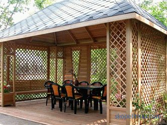 Finishing the gazebo, than sheathe the gazebo outside, lining interior trim, photo options