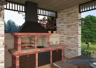 Overview arbors with a stove and barbecue, with a barbecue, photos of finished projects