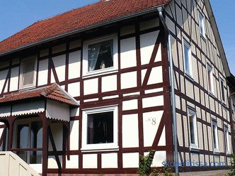 Houses in the style of fachwerk, finishing the facade under the fachwerk, imitation, construction technology, photo
