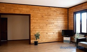 Partitions in a wooden house of timber, interior walls, installation, photo