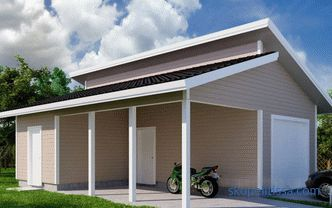 Garage with a canopy: the choice of materials for construction