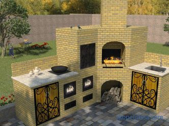 Corner brick grill - features of construction