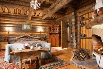 The interior of the wooden house inside: photo and video ideas