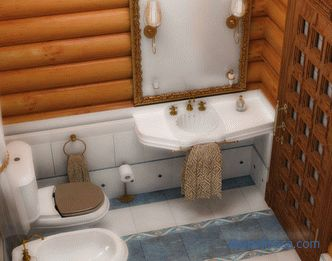 A bathroom at the cottage in a turnkey wooden house: schemes, waterproofing, toilet trim