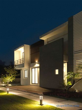 Design of a modern two-story house with a flat roof