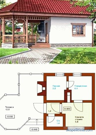 Projects of baths with a terrace and barbecue: photos, layout, location