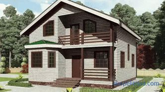 House of timber with attic, wooden country house with attic, planning of the house of timber with attic