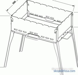 Standard construction height for cooking kebabs, optimal dimensions for a barbecue, what should be the width