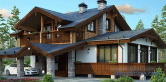 Projects of combined houses made of stone and wood for turnkey construction in Moscow