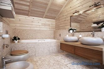 Bathroom design in a wooden house - the rules of arrangement of modern interior
