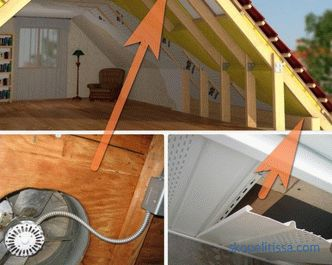 Attic under-roof ventilation, grid, device, variations, photo