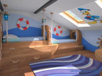 Interior and design of the attic in a wooden house, second floor at the cottage, the roof of the attic, ideas, photos
