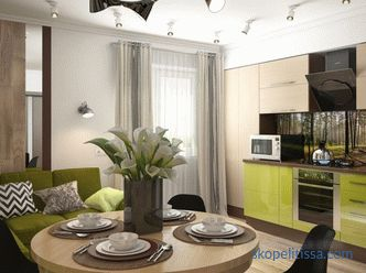 Kitchen design with dining and living room in a private house: photo of planning ideas