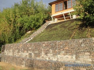 Houses on a slope with a basement and a terrace, projects for construction, how to build, photo