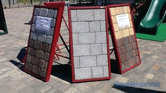 "At the exhibition of houses ""Low-rise country"" new stands of samples of paving slabs"