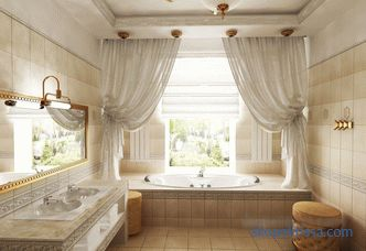 Design of a bathroom in a private house with a window, projects in country houses, modern ideas, photos