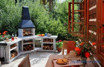 stoves and barbecues, photos and schemes, building layers, barbecue of brick and concrete, photo, video